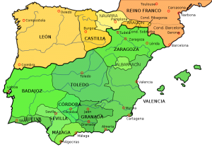 Political Map of Spain in 1035